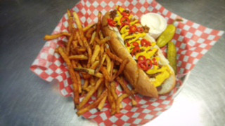 Hot dog at Royal Electric in Guelph