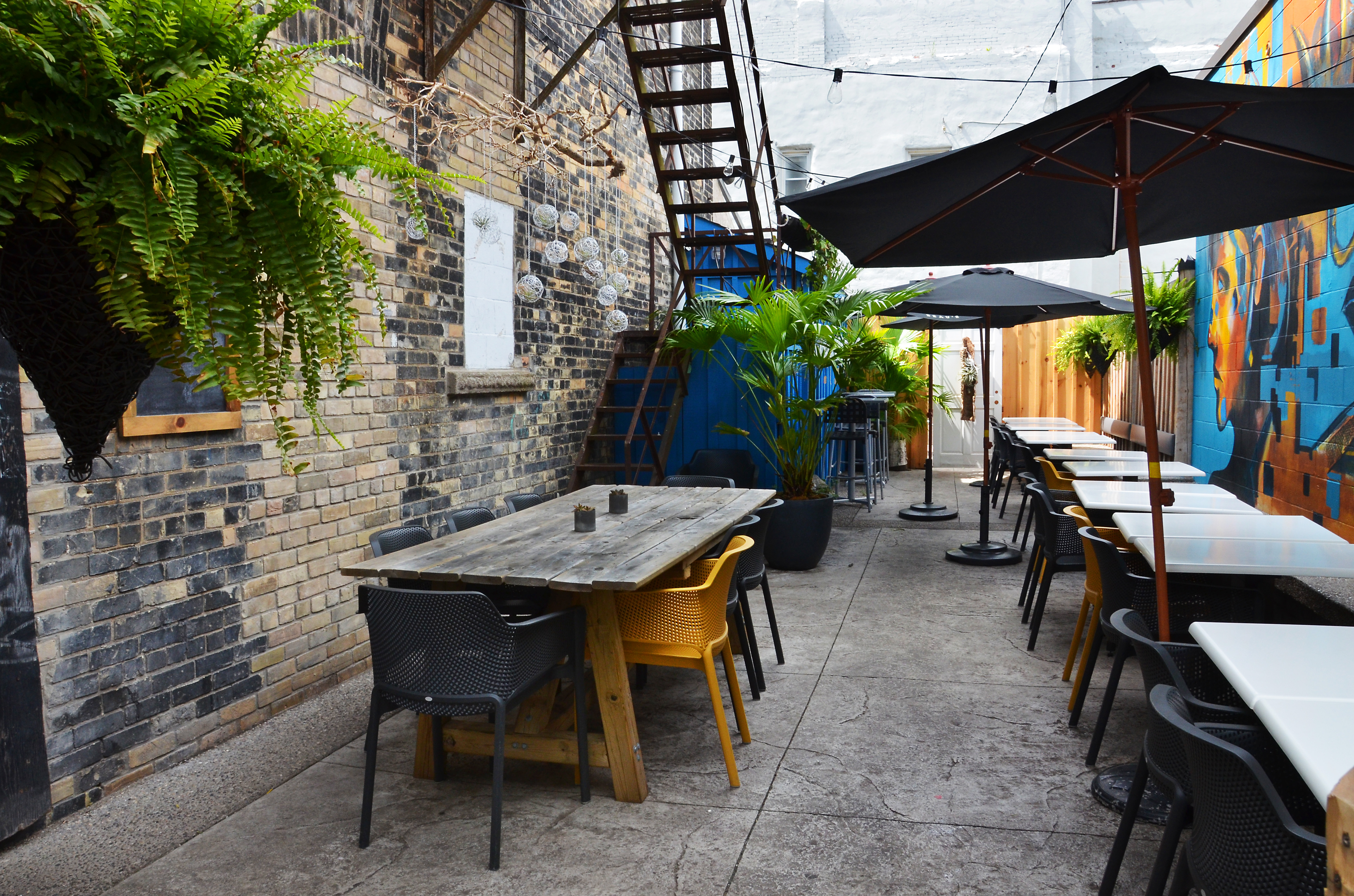 Patio seating at Royal Electric Guelph